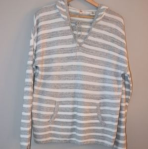 Levi's Gray and White Striped Long Sleeve w/hood